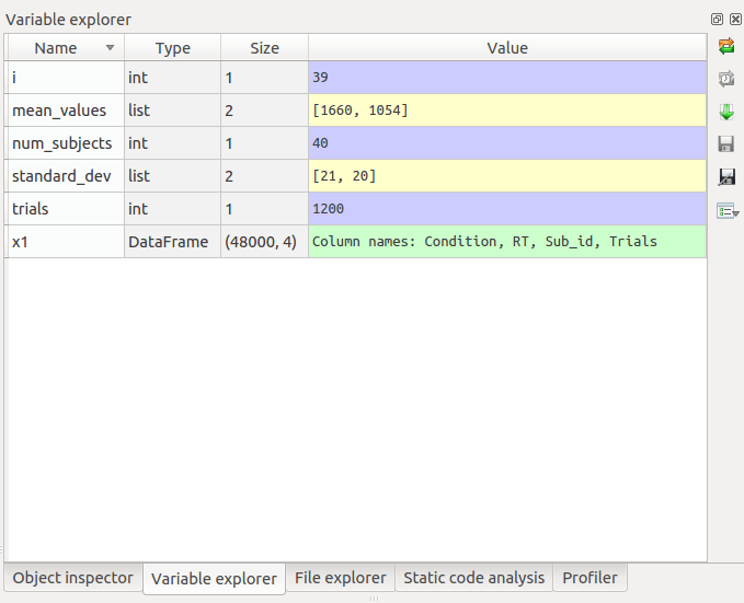 Spyder Python IDE Variable explorer