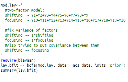 Doing bayesian confirmatory factor analysis using blaavan package in R