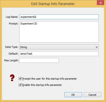 Create startup infor variable type string for csv datafile name