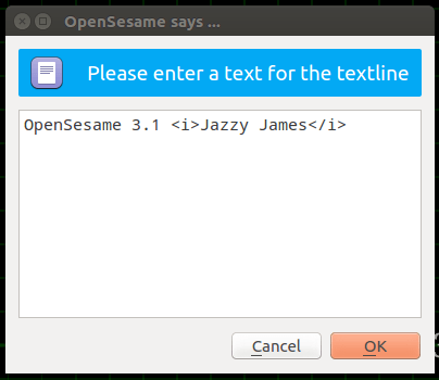How to input text in OpenSesame