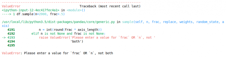 frac and n cannot be used together when using Pandas sample