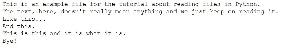 Reading a file in Python using read()