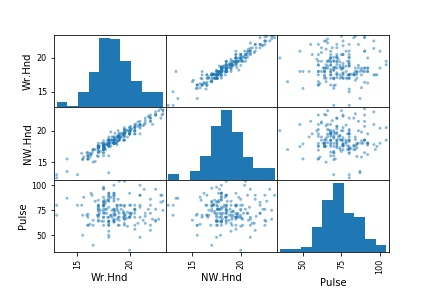 scatter_matrix Pandas with Histograms