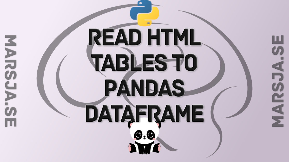 How to use Pandas read_html to Scrape Data from HTML Tables