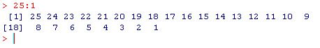 a sequence in R generated with numbers in descending order