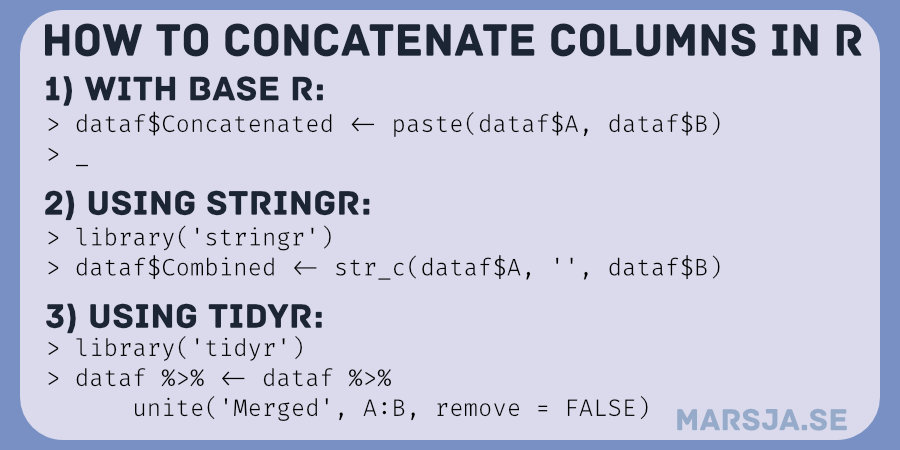 three methods to concatenate two columns in R